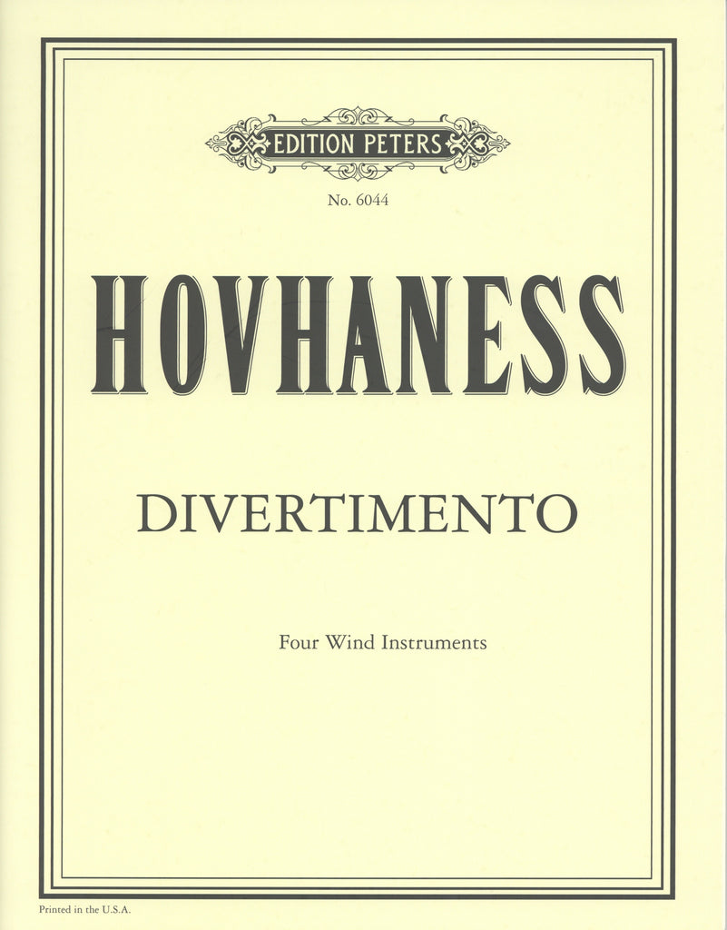 Hovhaness, Alan % Divertimento Op 61 #5 (Score & Parts)-OB/CL/HN/BSN or 4CL