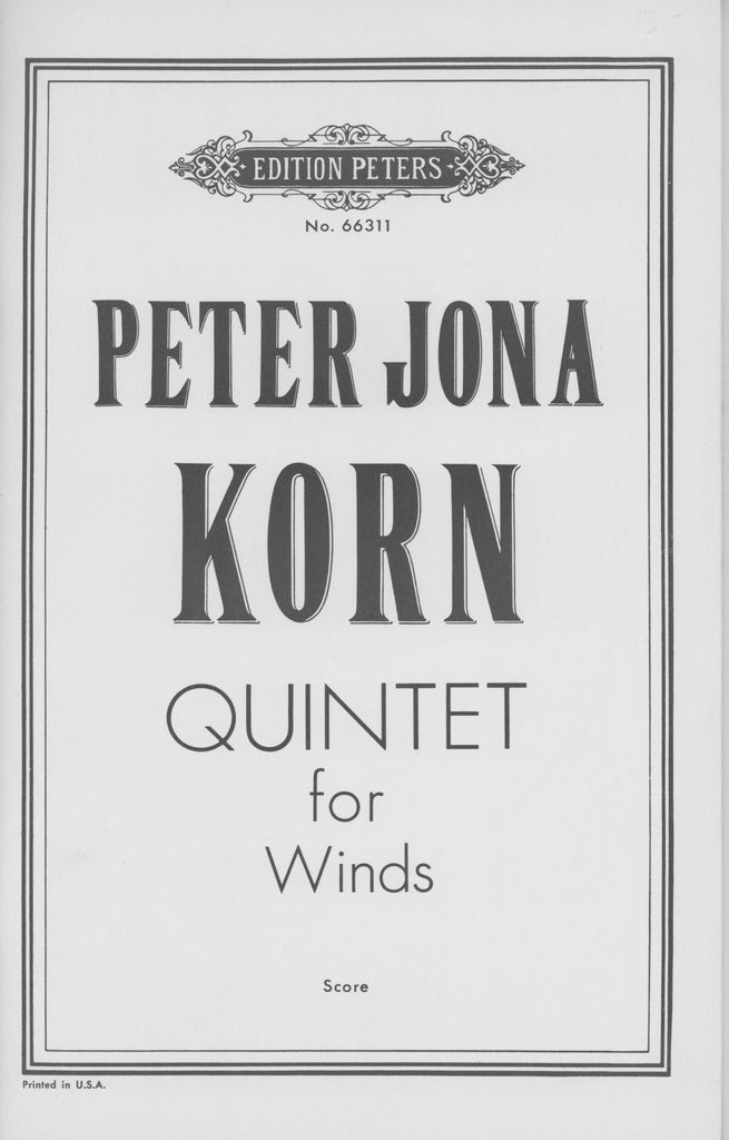 Korn, Peter Jona % Quintet for Winds Op 40 (Score Only)-WW5