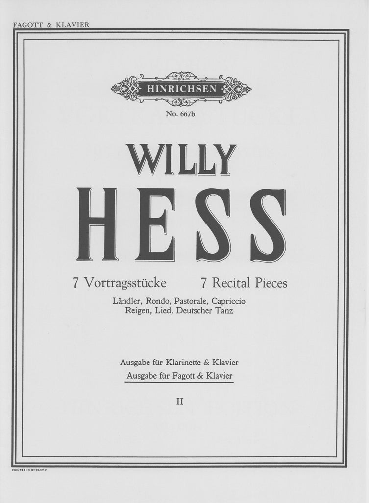 Hess, Willy % Seven Recital Pieces V2 (5-7)-BSN/PN