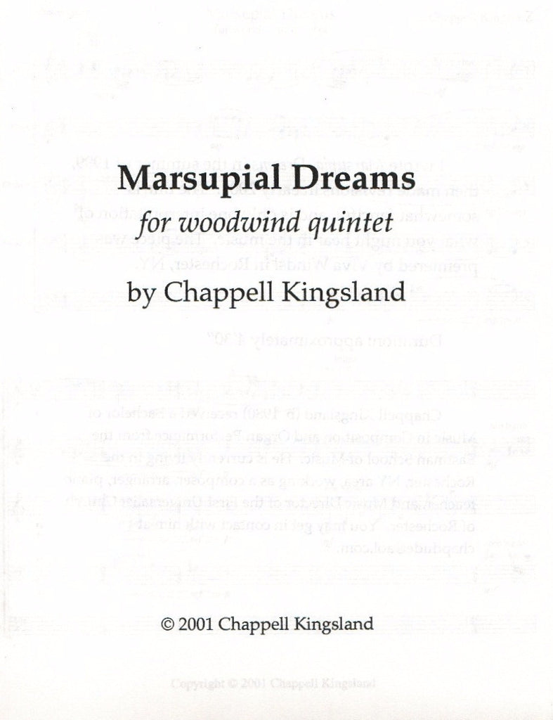 Kingsland, Chappell % Marsupial Dreams (Score & Parts)-WW5