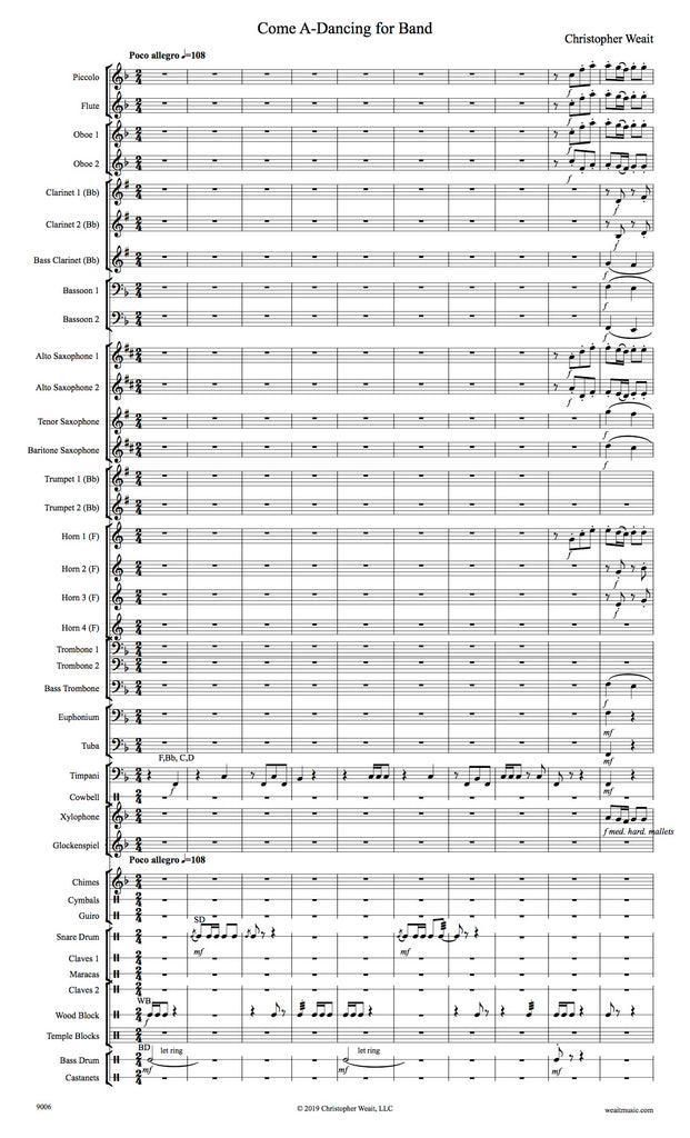 Weait, Christopher % Come A Dancing: A Canadian Folk Song (Score & Set)-BAND