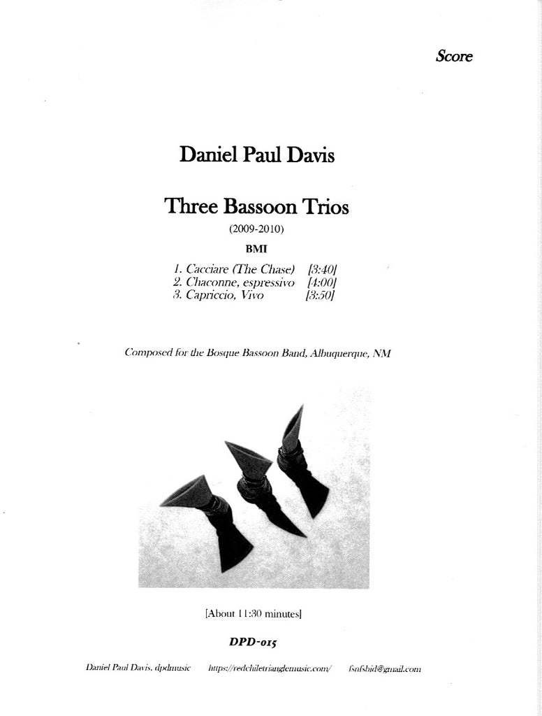 Davis, Daniel % Three Bassoon Trios (Score & Parts)-3BSN