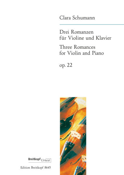 Schumann, Clara % Three Romances Op 22-VLN/PN or OB/PN