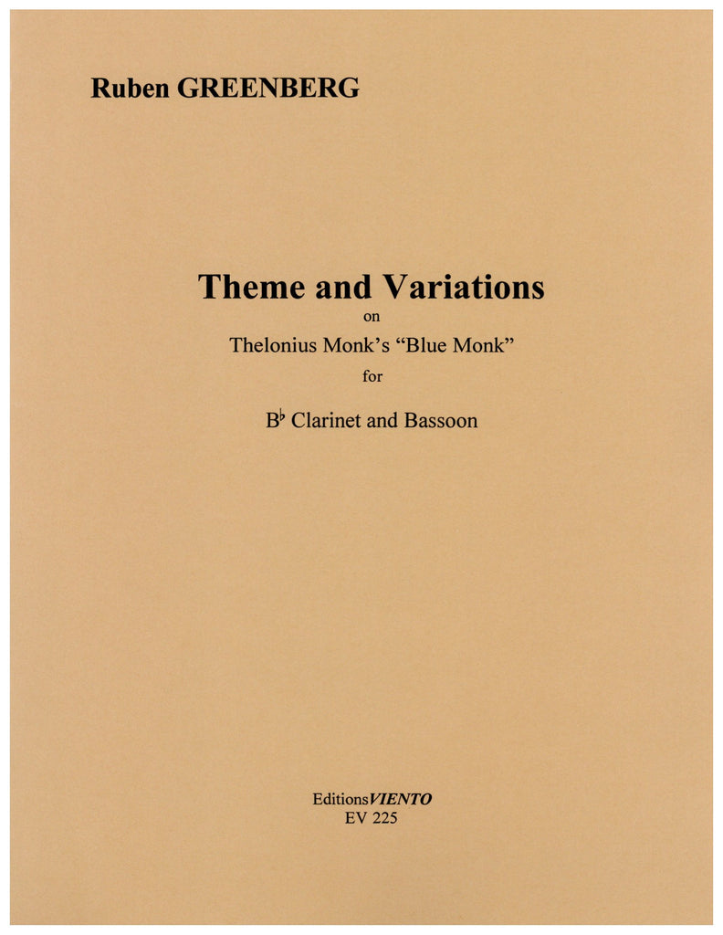 "Greenberg, Ruben % Theme & Variations on Thelonius Monk's ""Blue Monk""-CL/BSN"