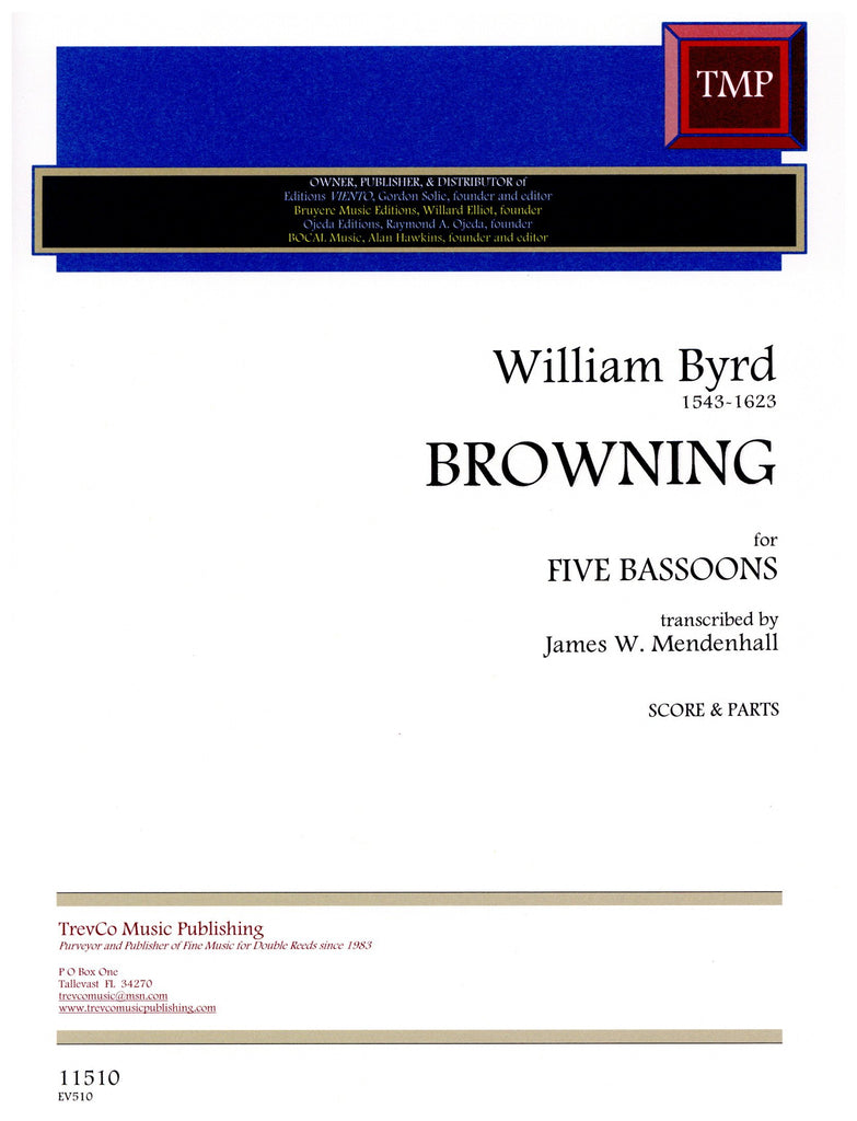 Byrd, William % Browning (Score & Parts)-5BSN