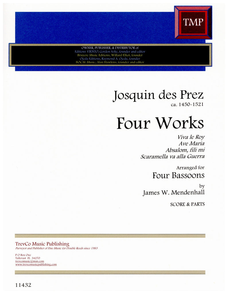 Josquin des Prez % Four Works (Score & Parts)-4BSN