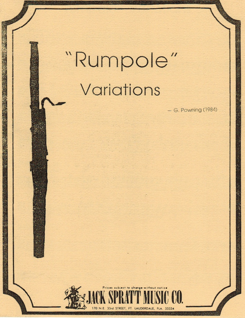 "Powning, Graham % ""Rumpole"" Variations (Parts Only)-3BSN"
