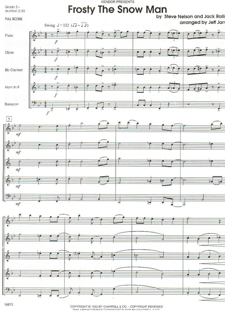 All Music Chords free french horn sheet music : Frosty the Snowman (Score & Parts)-WW5 - TrevCo-Varner Music