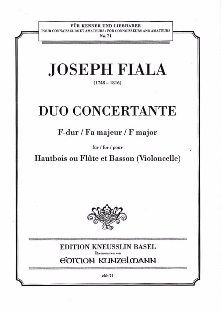 Fiala, Joseph % Duo Concertante in F Major (Performance Score)-OB/BSN or FL/BSN