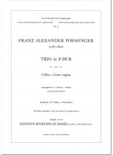 Poessinger, Franz Alexander % Trio in F Major (Parts Only)-2OB/EH