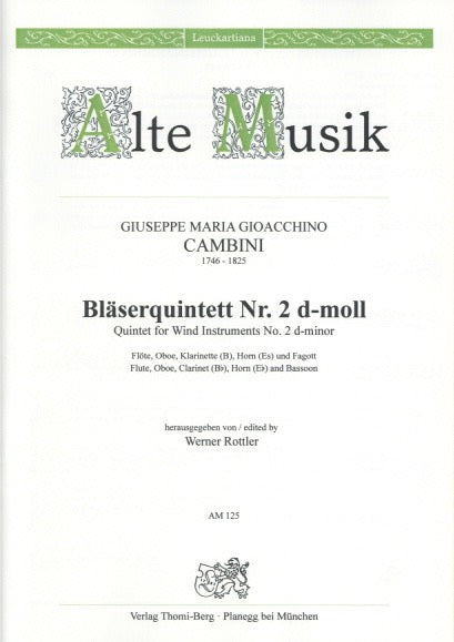 Cambini, Giuseppe % Quintet #2 in d minor (Parts Only)-WW5