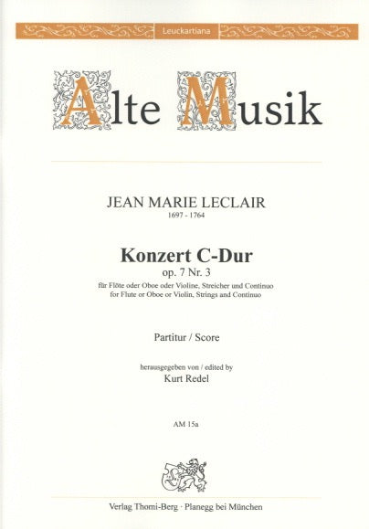 Leclair, Jean-Marie % Concerto in C Major Op 7 #3 (Score Only)-OB/ORCH