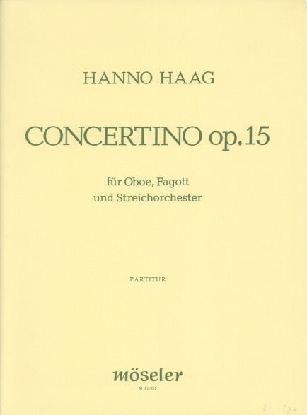 Haag, Hanno % Concertino Op 15 (Score & Set)-OB/BSN/ORCH