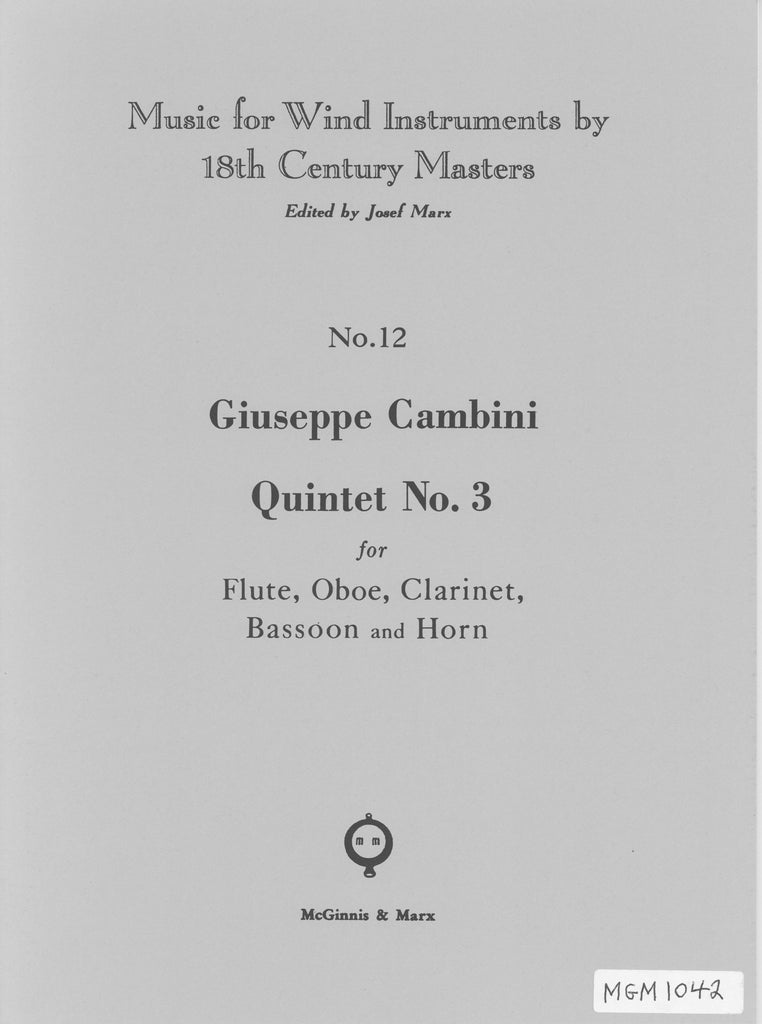 Cambini, Giuseppe % Quintet #3 (Parts Only)-WW5