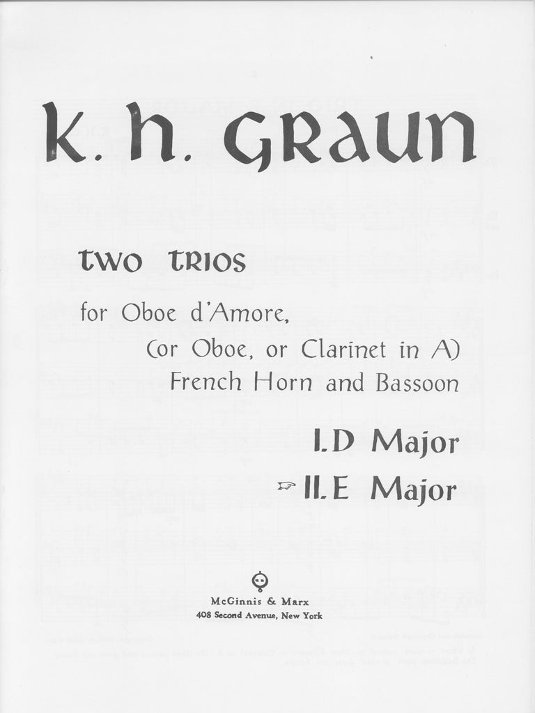 Graun, Carl Heinrich % Trio #2 in E Major (Score & Parts)-OB/HN/BSN or OBd'AMORE/HN/BSN