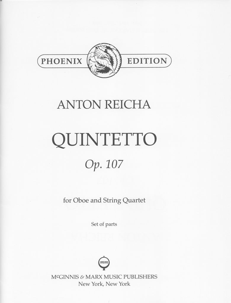 Reicha, Anton % Quintet in F Major Op 107 (Parts Only)-OB/STG4