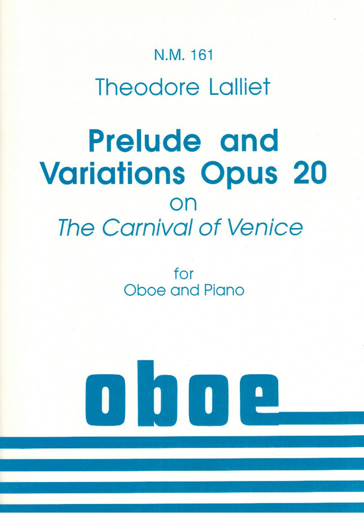 "Lalliet, Casimir-Theophile Theodore % Prelude & Variations Op 20 on ""The Carnival of Venice""-OB/PN"