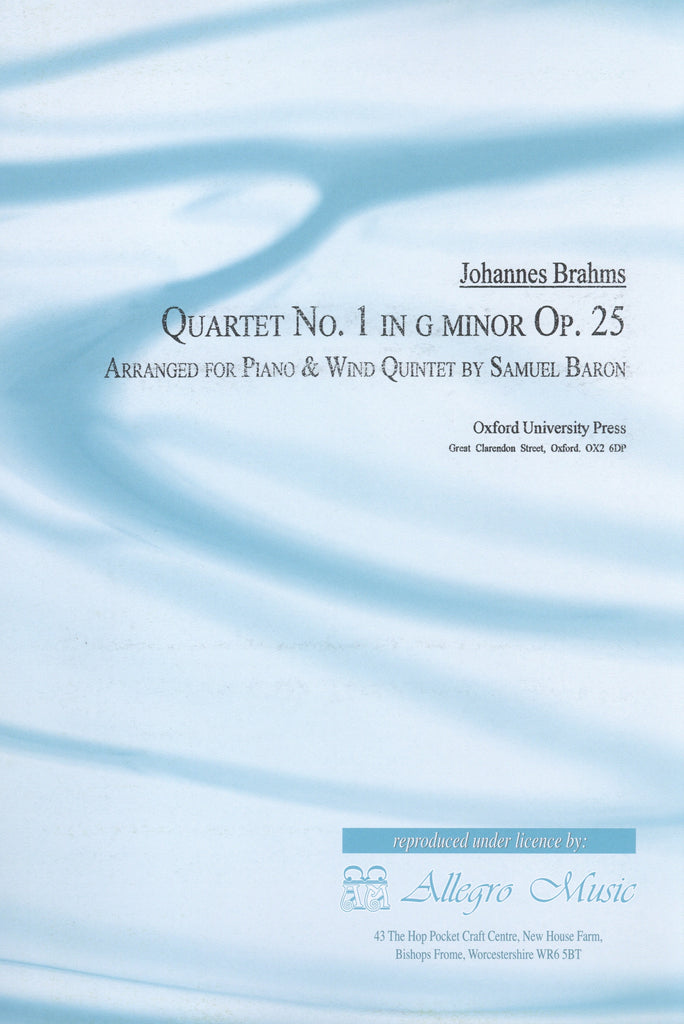 Brahms, Johannes % Quartet #1 in g minor Op 25 (Baron)-WW5/PN