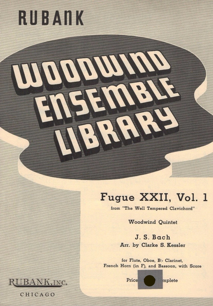 Bach, JS % Fugue XXII V1 (Score & Parts)-WW5