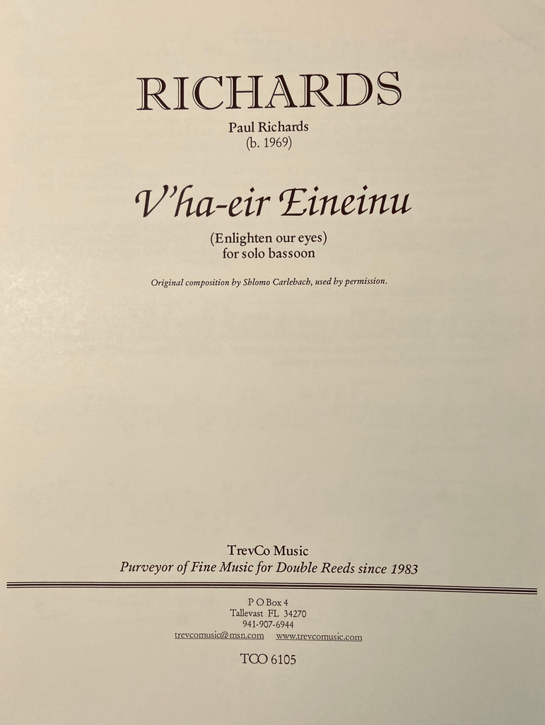 Richards, Paul % V'ha-eir Eineinu-SOLO BSN