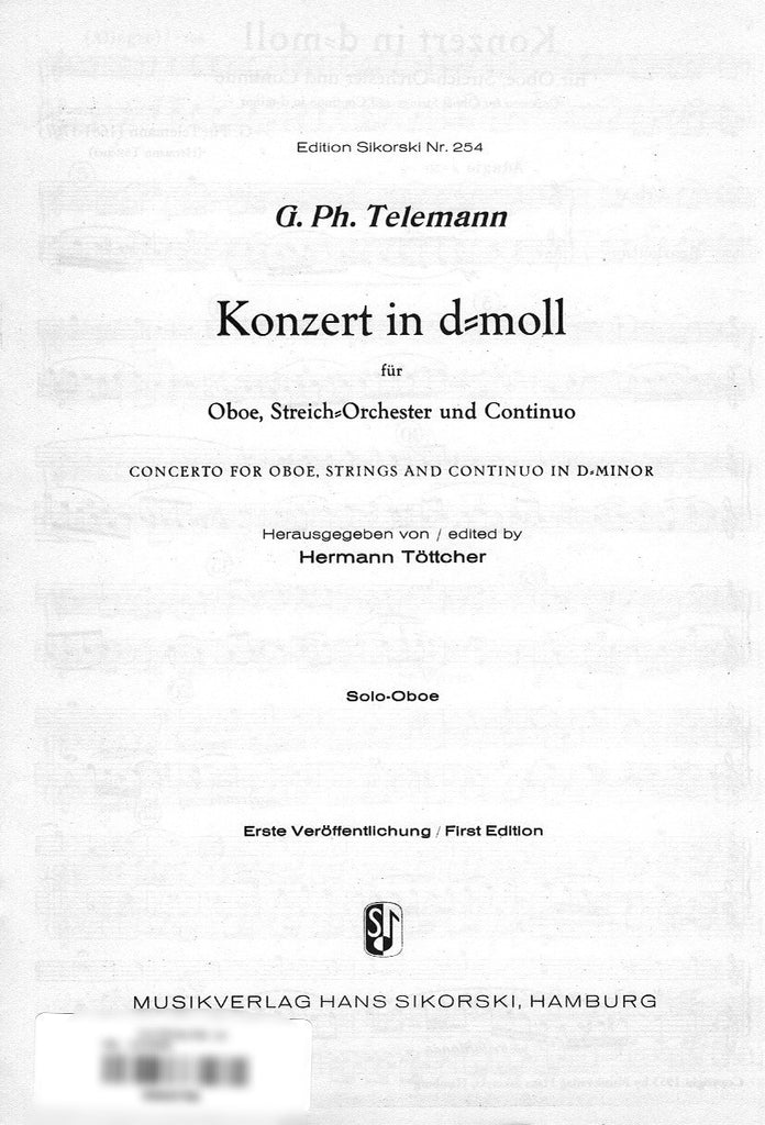 Telemann, Georg Philipp % Concerto in d minor (Set of String Parts)-OB/ORCH