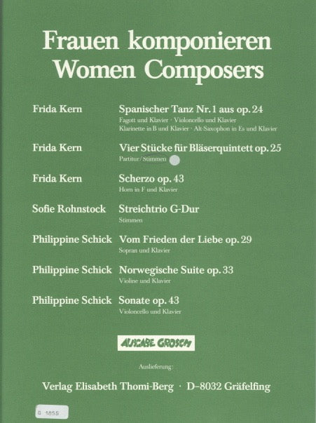 Kern, Frida % Four Pieces Op 25 (Parts Only)-WW5