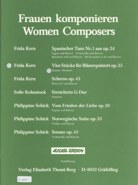 Kern, Frida % Four Pieces Op 25 (Score Only)-WW5