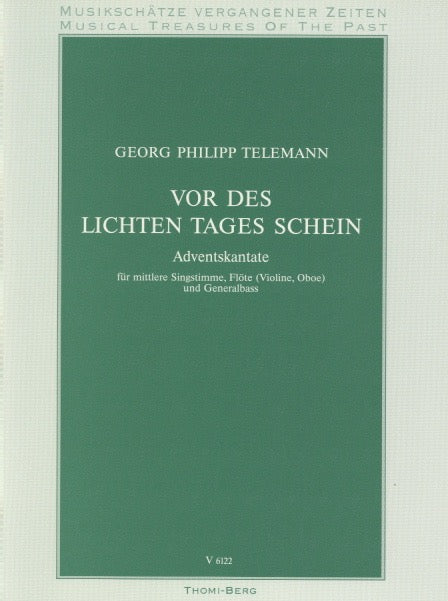 "Telemann, Georg Philipp % Vor des Lichten Tages Schein from the ""Advent Cantata""-OB/VOICE/PN (Basso Continuo)"