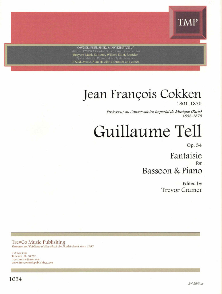 Cokken, Jean-Francois Barthelemy % William Tell Fantasy Op 34-BSN/PN