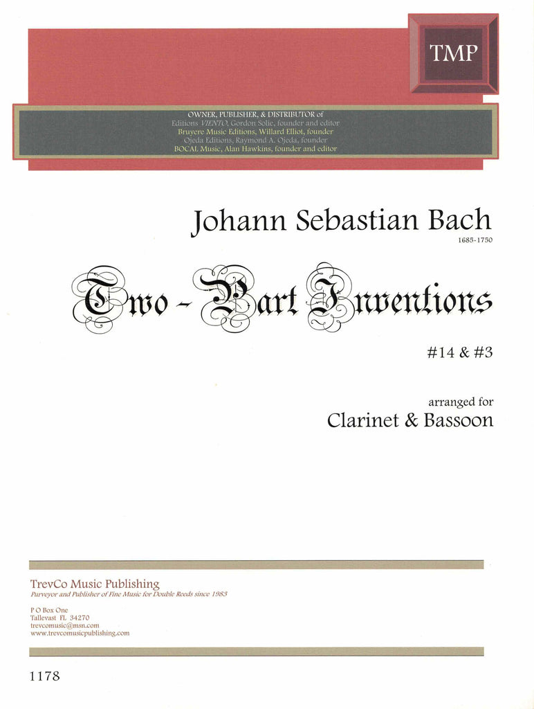 Bach, J.S. % Two-Part Inventions #3 & #14 (performance scores)-CL/BSN