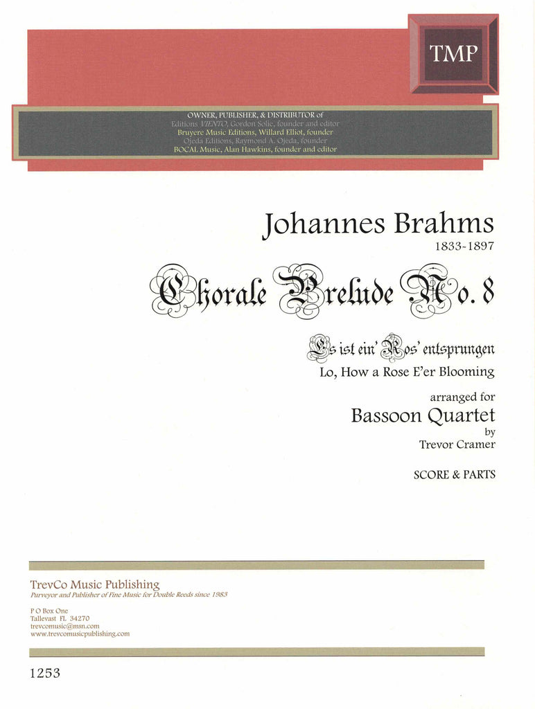 Brahms, Johannes % Lo, How a Rose E'er Blooming (Score & Parts)-4BSN