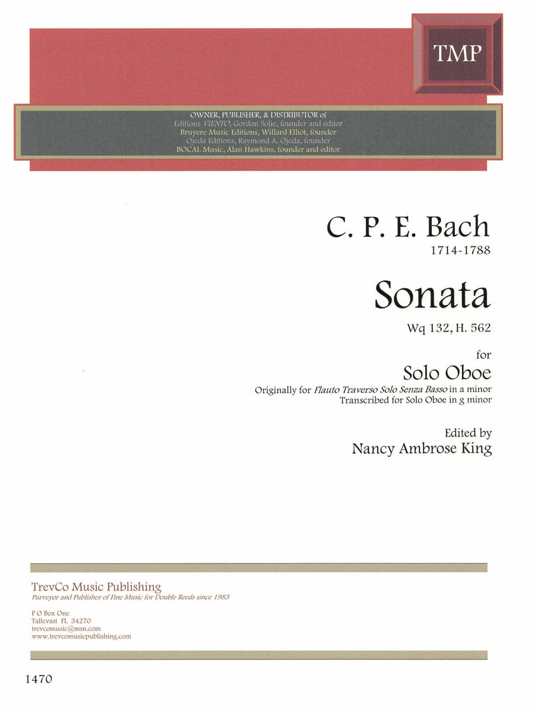 Bach, C.P.E. % Sonata in g minor, Wq132, H.562 - SOLO OB
