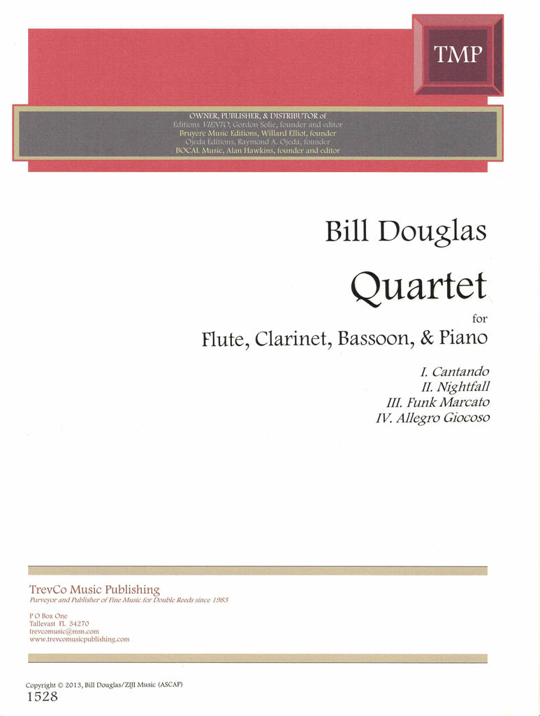 Douglas, Bill % Quartet (Score & Parts)-FL/CL/BSN/PN