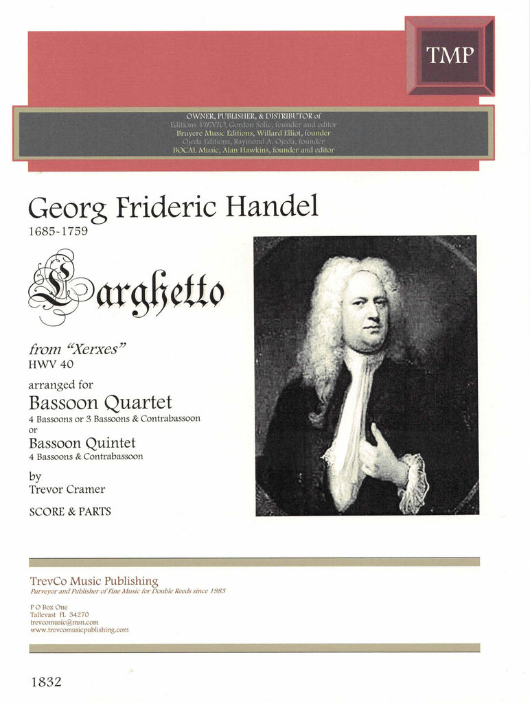 "Handel, Georg Friedrich % Larghetto from ""Xerxes"" HWV40 (Score & Parts)-4BSN or 5BSN"