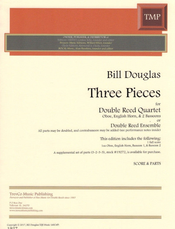 Douglas, Bill % Three Pieces (Score & Parts)-OB/EH/2BSN