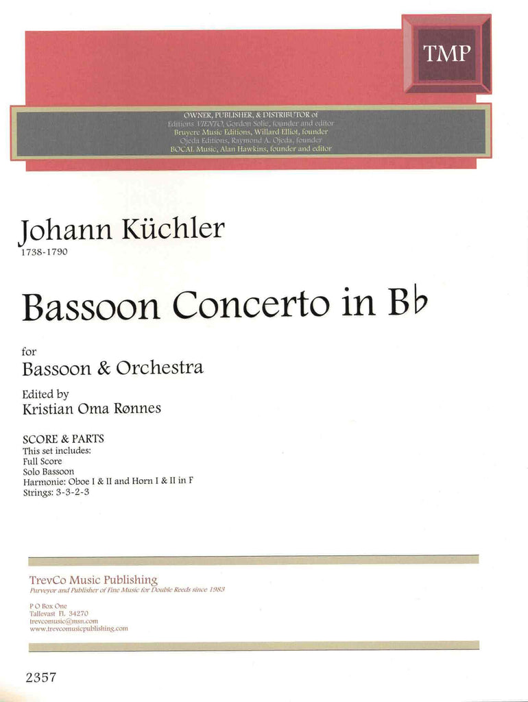 Küchler, Johann % Bassoon Concerto in Bb Major (Score & Set)-BSN/ORCH