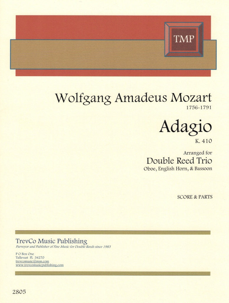 Mozart, Wolfgang Amadeus % Adagio in F Major K410 (Score & Parts)-OB/EH/BSN