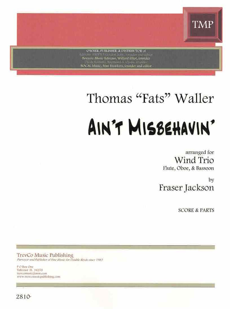"Waller, Thomas ""Fats"" % Ain't Misbehavin' (Score & Parts)-FL/OB/BSN"