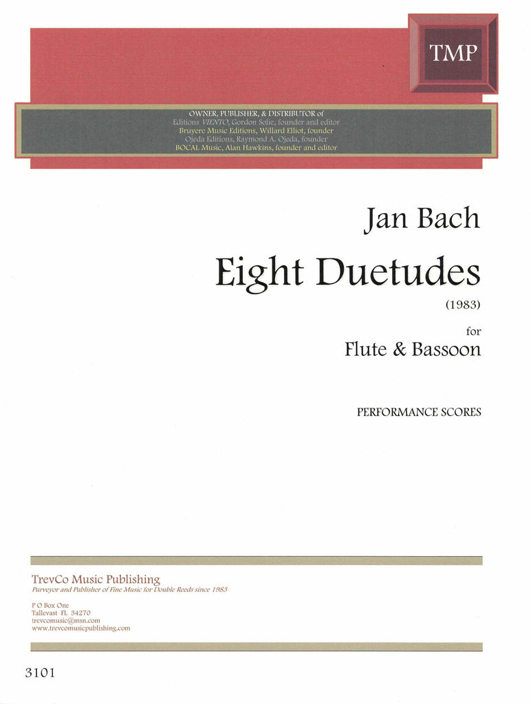Bach, Jan % Eight Duetudes (Performance Scores)-FL/BSN