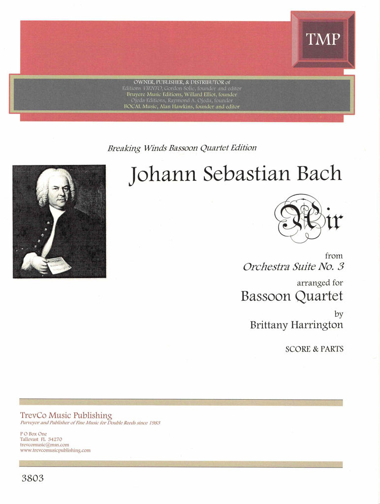 Bach, JS % Air from Orchestra Suite #3 (Score & Parts)-4BSN