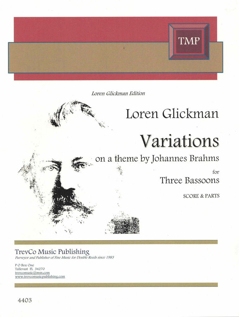 Glickman, Loren % Variations on a Theme by Johannes Brahms (Score & Parts)-3BSN