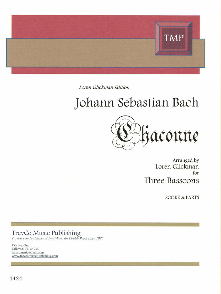 Bach, J.S. % Chaconne (Glickman) (Score & Parts)-3BSN