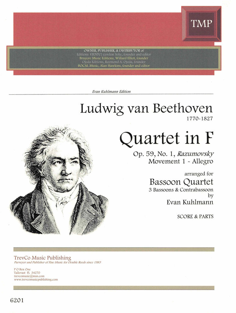 Beethoven, Ludwig van % Quartet in F Major Op 59 #1 (Score & Parts)-3BSN/1CBSN
