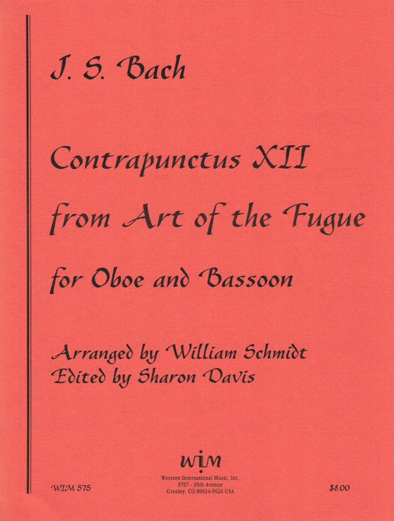 "Bach, JS % Contrapunctus XII from ""The Art of the Fugue"" (Score & Parts)-OB/BSN"