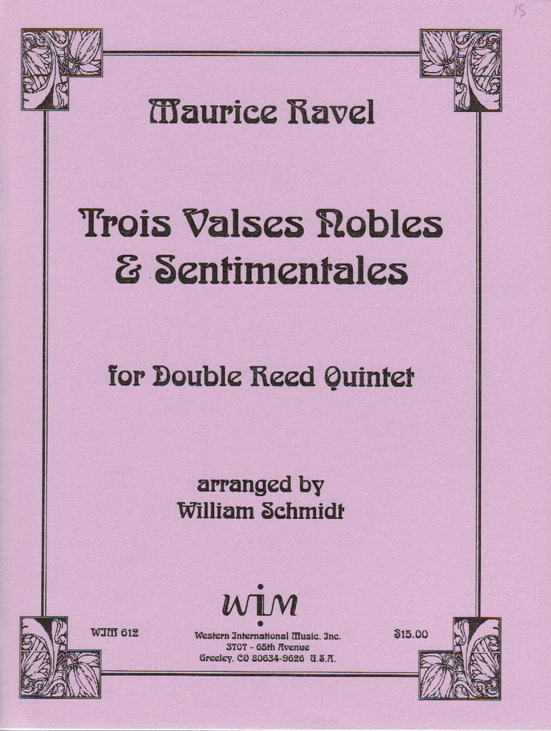 Ravel % Three Valses Noble & Sentimentales (Score & Parts)-2OB/EH/2BSN