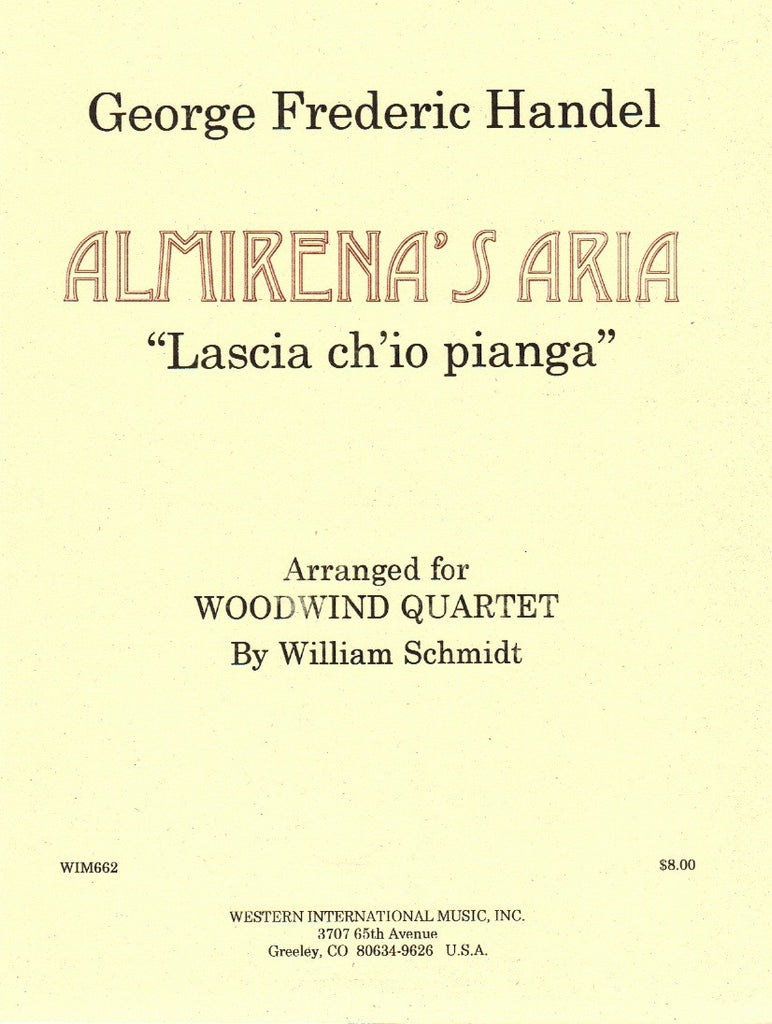 "Handel, Georg Friederich % Almirena's Aria from ""Rinaldo"" (Score & Parts)-WW4"