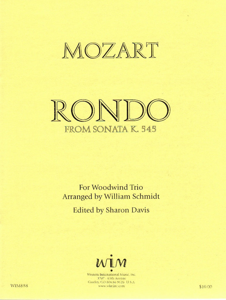 Mozart, Wolfgang Amadeus % Rondo from Sonata in C Major K545 (Score & Parts)-FL/CL/BSN
