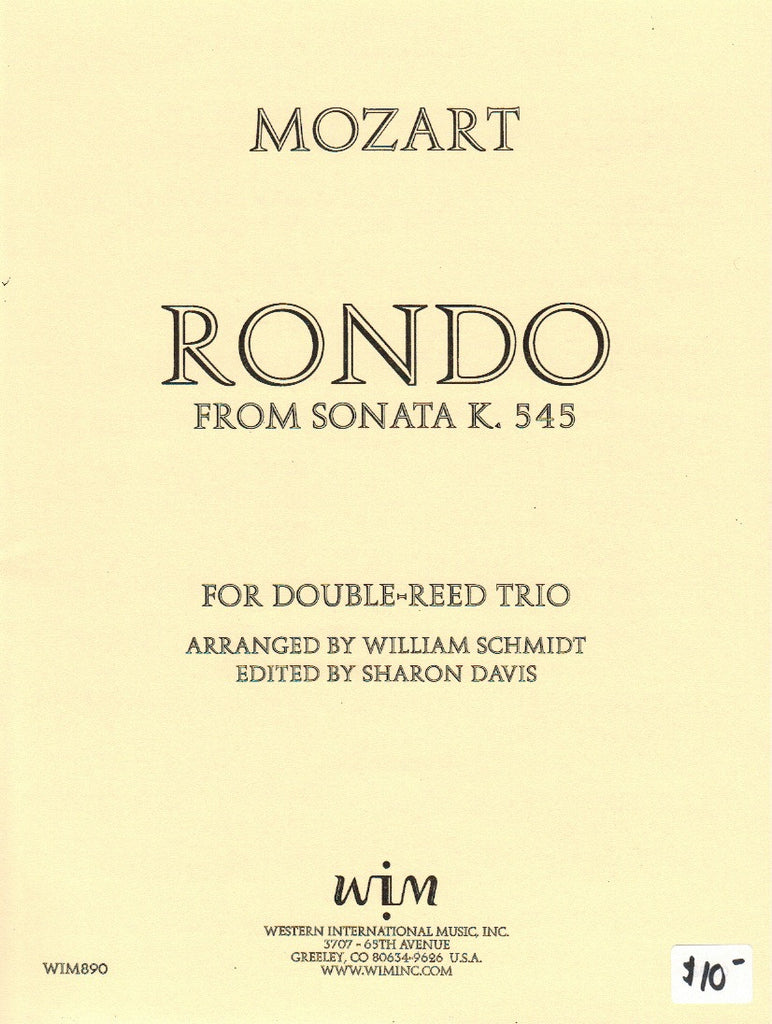 Mozart, Wolfgang Amadeus % Rondo from Sonata in C Major K545 (Score & Parts)-OB/EH/BSN