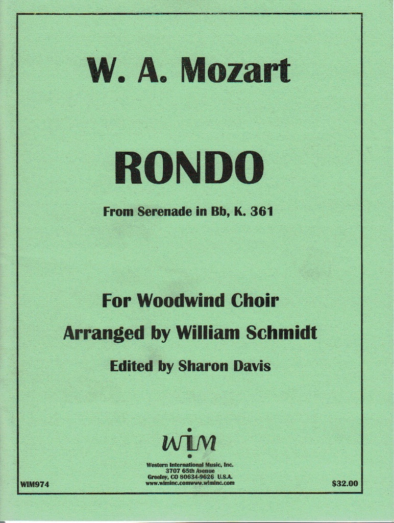 "Mozart, Wolfgang Amadeus % Rondo from ""Serenade in Bb Major K361"" (Score & Parts)-WW CHOIR"