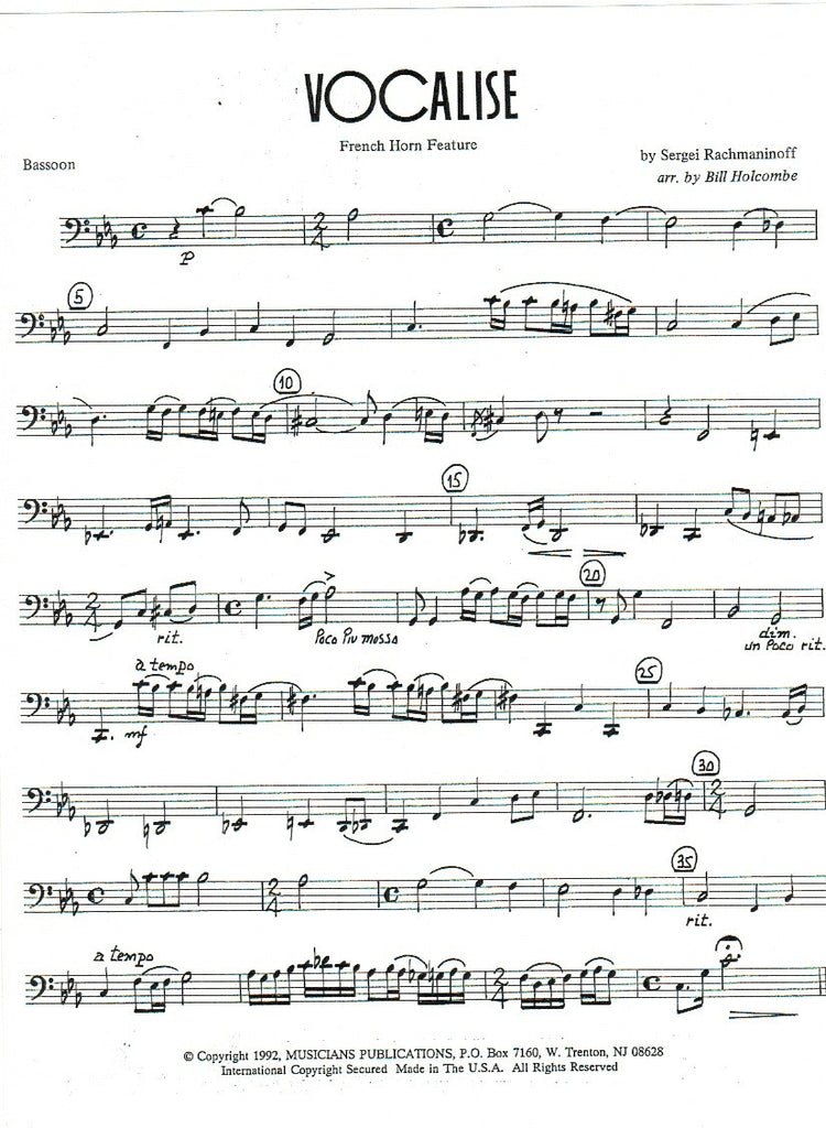 All Music Chords rachmaninoff sheet music : Vocalise (Horn Feature) (Score & Parts)-WW5 - TrevCo-Varner Music